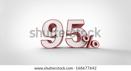 95 %  Percent Sign Isolated on the White Background