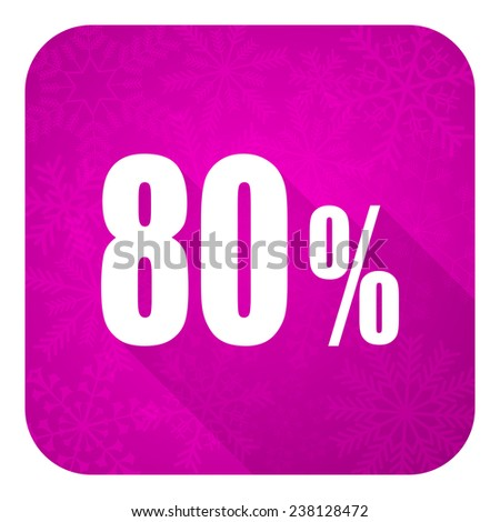 80 percent violet flat icon, christmas button, sale sign  - stock photo