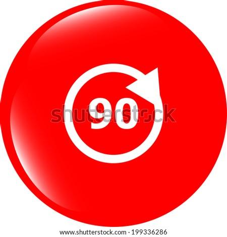 90 percent web icon, web button - stock photo