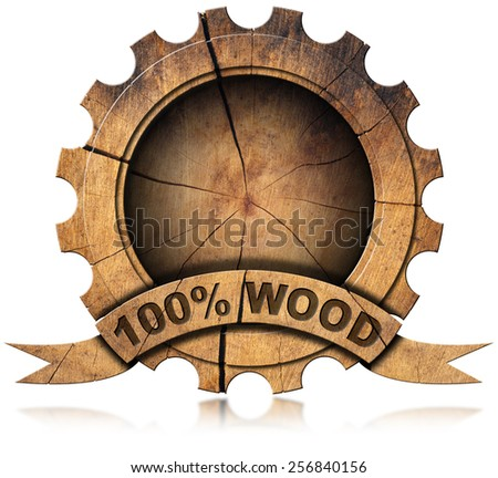 100 Percent Wood - Wooden Icon. Wooden icon in the shape of gear with wooden ribbon and text, 100% (percent) wood. Isolated on white background - stock photo