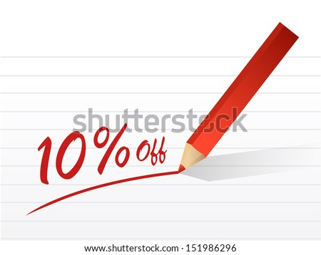 10 percentage off written on a piece of paper. illustration design - stock photo
