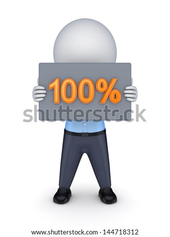 100 percents.Isolated on white.3d rendered. - stock photo