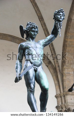Perseo with the head of Medusa by Benvenuto Cellini in Florence, Italy - stock photo