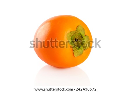 Persimmon fruit isolated on white background - stock photo