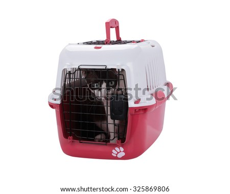 pet carrier with cat isolated on white background. This has clipping path.  - stock photo