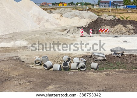 Phase in building of new road, layers are set for next stop.  - stock photo