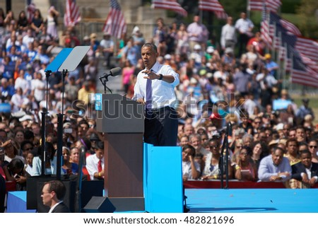 PHILADELPHIA - SEPTEMBER 13: President Barack Obama urges supporters to get neighbors to the polls help defeat Donald Trump on September 13, 2016 in Philadelphia.