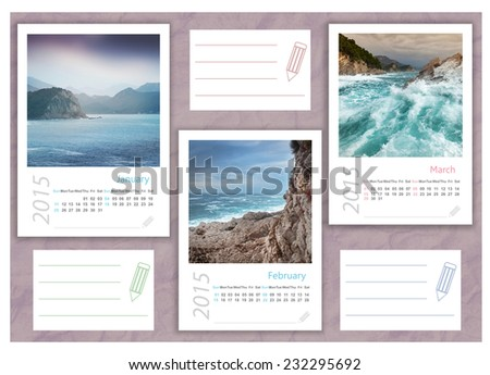 2015 photo calendar with beautiful  seascapes. January, February, March. - stock photo