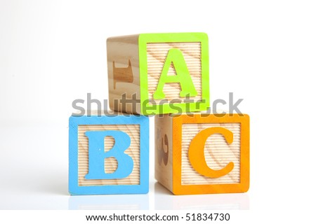 photo of a wooden alphabet blocks spelling abc