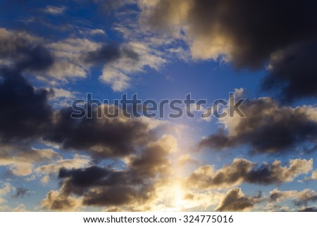 Photo sky at sunset. multicolored clouds - stock photo