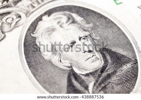 photographed close-up American dollars, small depth of field, banknote worth twenty dollars,