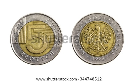 photographed close up and isolated on a white background five Polish zloty - stock photo