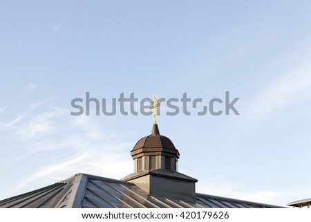 photographed close-up of an old orthodox church, located in Grodno, Belarus - stock photo
