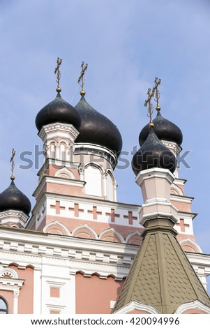 photographed close-up of the Orthodox Church, located in Grodno, Belarus - stock photo