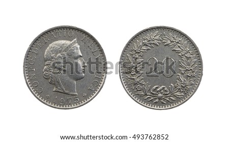 photographed close-up on white background coin,, twenty Swiss Rapen