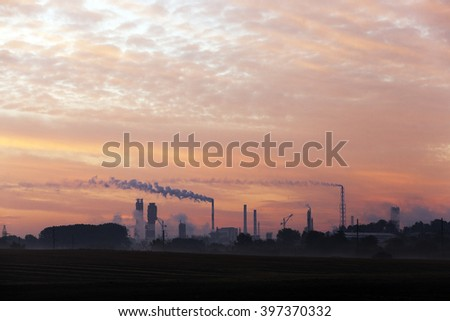 Photographed power plant and a chemical plant during operation - stock photo