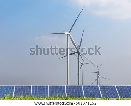 photovoltaics  and wind turbines generating electricity green energy renewable