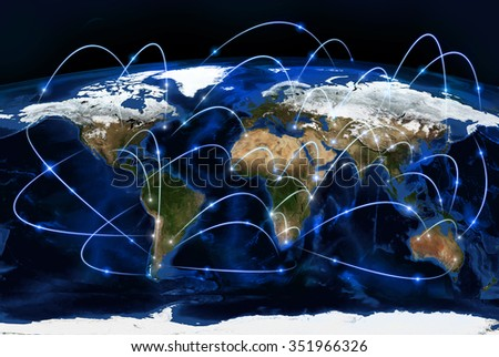 Physical world map illustration. Primary source and elements of this image furnished by NASA - stock photo