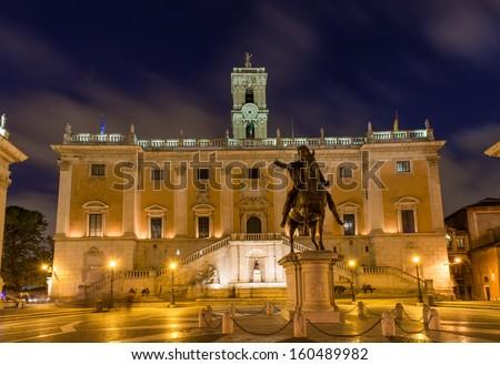 Piazza del Campidoglio, on the top of Capitoline Hill, with the facade of Palazzo Senatorio and the replica of the equestrian statue of Marcus Aurelius. Rome, Italy  - stock photo