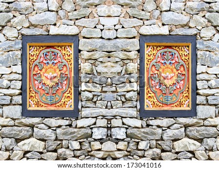 Picture frame isolated on stone wall background - stock photo