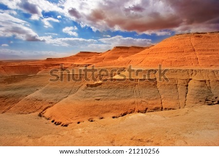 Picturesque ancient mountains about the Dead Sea in Israel - stock photo