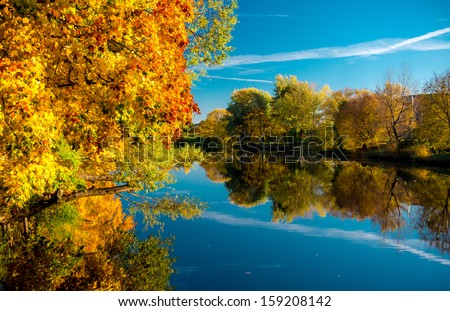 Picturesque autumn landscape. Riga, Latvia - stock photo