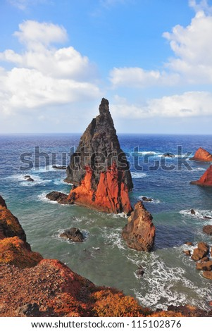 Picturesque colorful cliffs and islands.  The eastern tip of the island of Madeira - stock photo