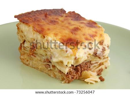 piece of pastitsio on  dish - stock photo