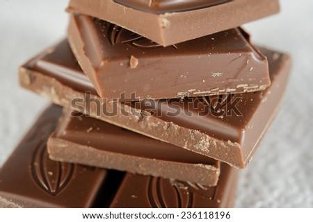 pieces of chocolate closeup - stock photo
