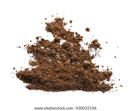 pile dirt isolated on white background, with clipping path - stock photo