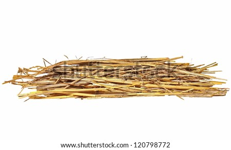 pile of straw isolated on white background, with clipping path - stock photo