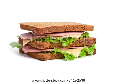 pile of  whole wheat sandwiches - stock photo