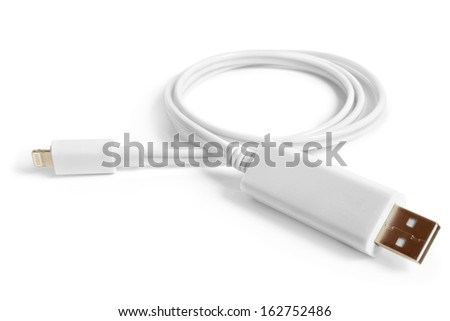 8 Pin to USB Cable on a white background - stock photo