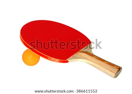 Ping Pong Paddle and Ball Isolated on a White Background