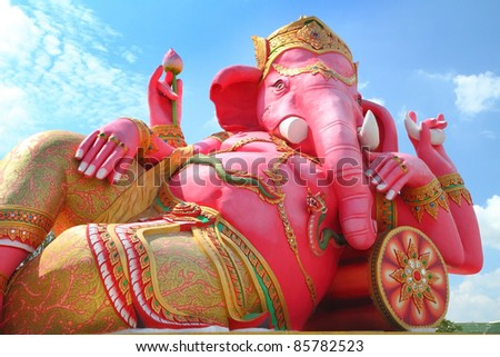 Pink ganesha in relaxing protrait on blue sky, Chachoengsao,Thailand