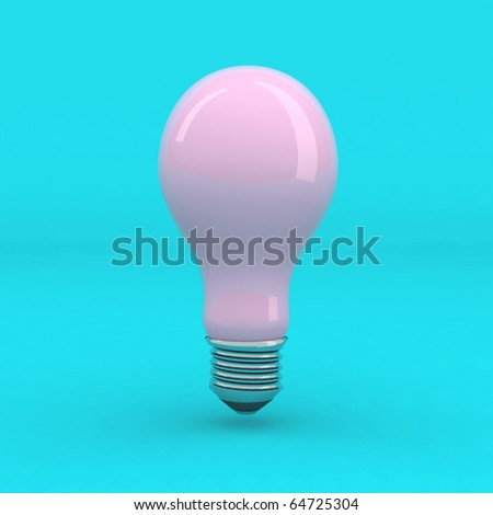 pink light bulb on cyan background - stock photo