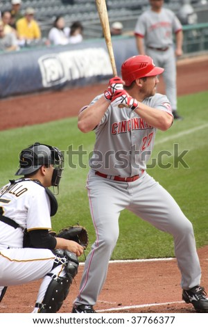 PITTSBURGH - SEPTEMBER 24 : Scott Rolen swings at a pitch against the Pittsburgh Pirates September 24, 2009 in Pittsburgh, PA. - stock photo
