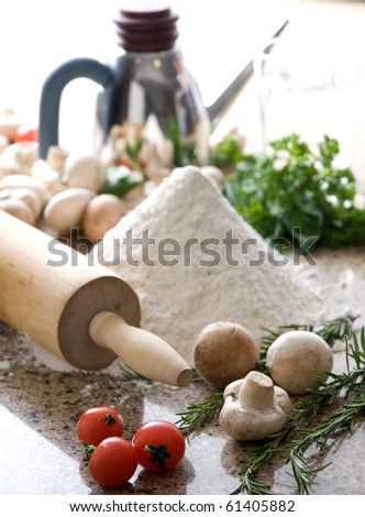 pizza making - stock photo