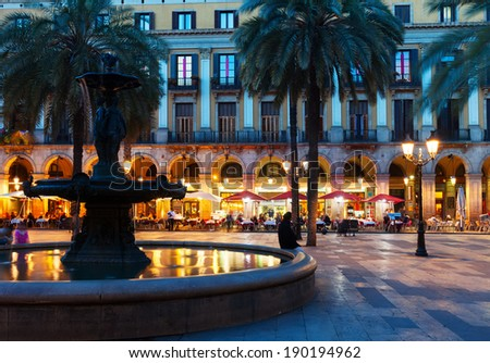 Placa Reial in  night. Barcelona, Spain - stock photo