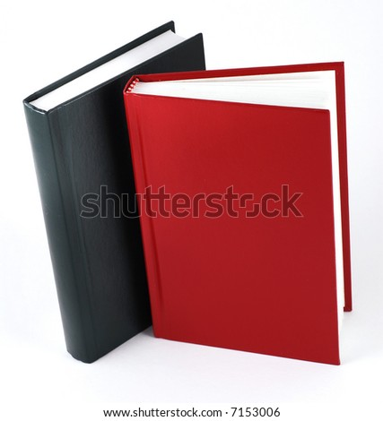 2 plain books, isolated on white. Christmas color. - stock photo