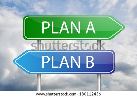 """Plan A"" and ""Plan B"" green and blue arrow sign posts - stock photo"