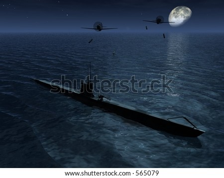 2 Planes attack a submarine surfaced at night - stock photo