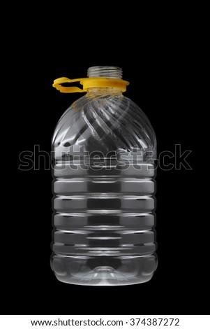 Plastic Bottle Isolated on Black Background - stock photo