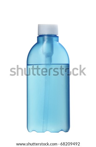 plastic bottle  with liquid isolated on white
