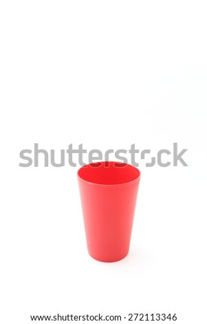 plastic red cup on white background - stock photo