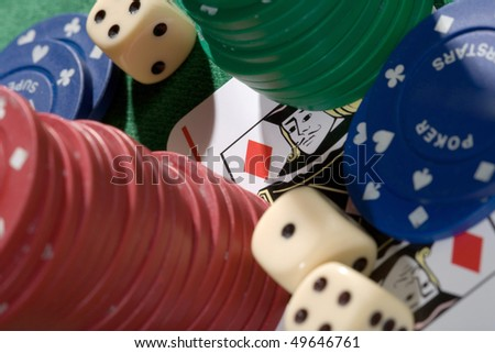 playing card chips and dice