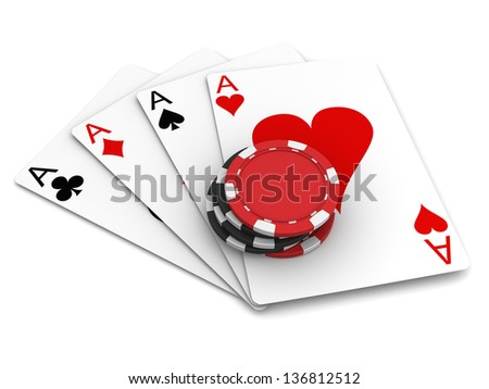 Playing Cards and Casino Chips - stock photo