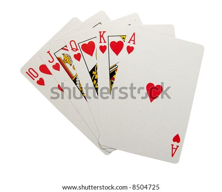 playing cards isolated - Royal Flush - stock photo