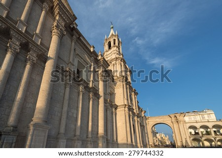 Plaza De Armas and Cathedral â?? Arequipa, Peru - stock photo