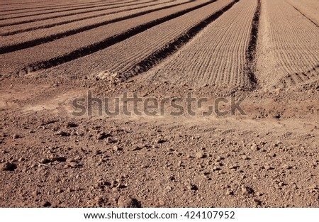 plowed and crop drilled field